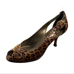 Stuart Weitzman Chatup Leopard Leather Heels 9M